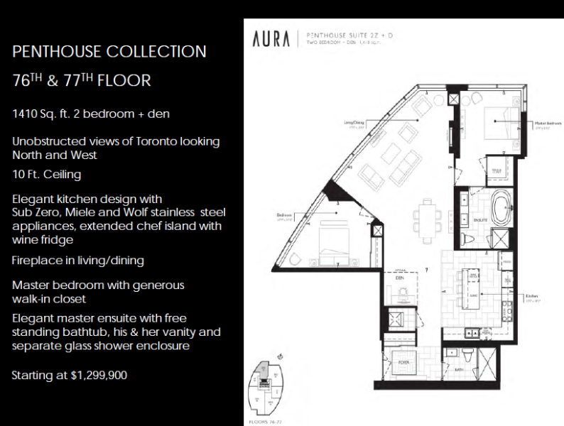 The best condo penthouse in toronto aura condos real for Real estate floor plan pricing