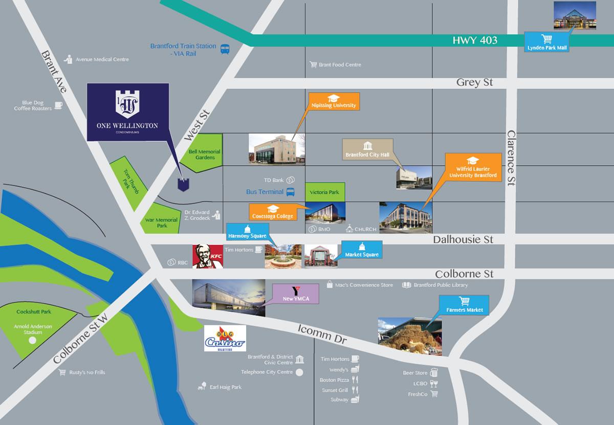 One Wellington Condos Map