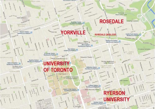 The Rosedale Condos Area Map