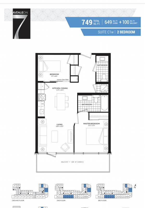 Floor Plan for Suite 228 at Avenue on 7 Condo