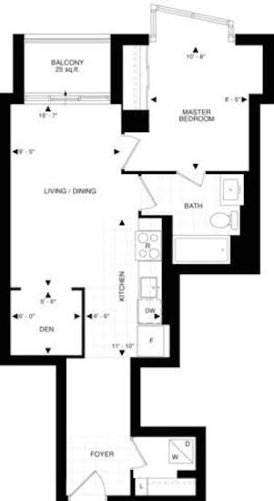 Floor Plan for Suite 228 at Beverly Hill Condos 2